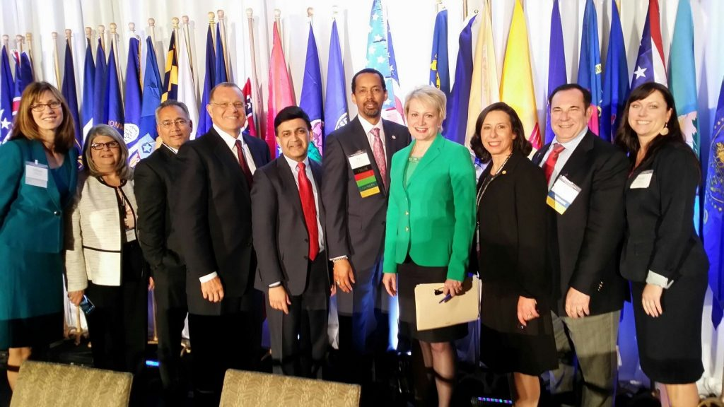 Pictured left-to-right: Allison Dudley, J.D., Executive Director, Florida Board of Medicine; Chandra Prine, Program Operations Administrator, Florida Board of Medicine; Sarvam TerKonda, M.D., Florida Board of Medicine Member; Nabil El Sanadi, M.D., Florida Board of Medicine Chair; Humayun J. Chaudhry, D.O., M.S., MACP, FACOI, FSMB Secretary; Jon V. Thomas, M.D., MBA, FSMB Director; Susan Dentzer, Senior Health Policy Adviser Robert Wood Johnson Foundation; Anna Hayden, D.O., Florida Board of Osteopathic Medicine Vice-Chair; Joel Rose, D.O., Florida Board of Osteopathic Medicine Chair; Christy Robinson, Program Operations Administrator, Florida Board of Osteopathic Medicine